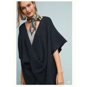 ANTHROPOLOGIE twisted ribbed poncho